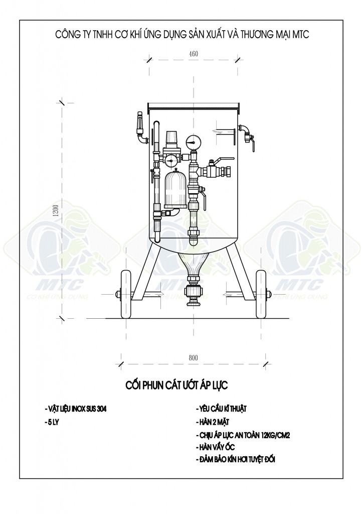 Thông số kĩ thuật máy phun cát ướt MTC